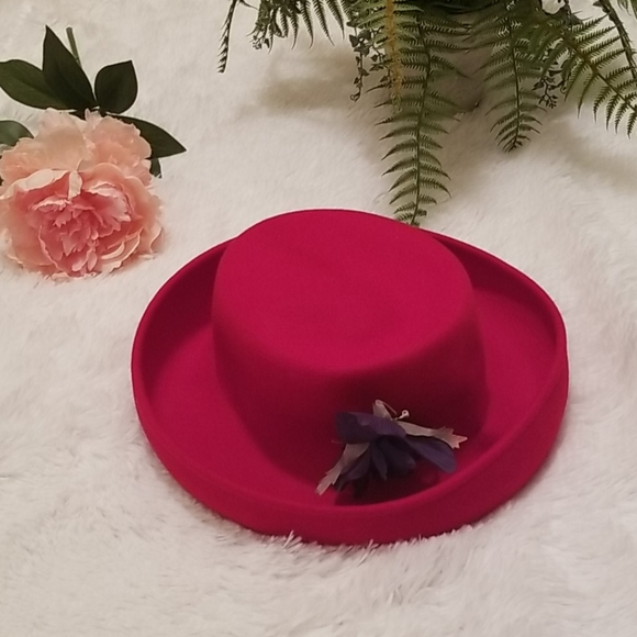 Red Hat Society Scala 100 % Wool Red Fedora Hat